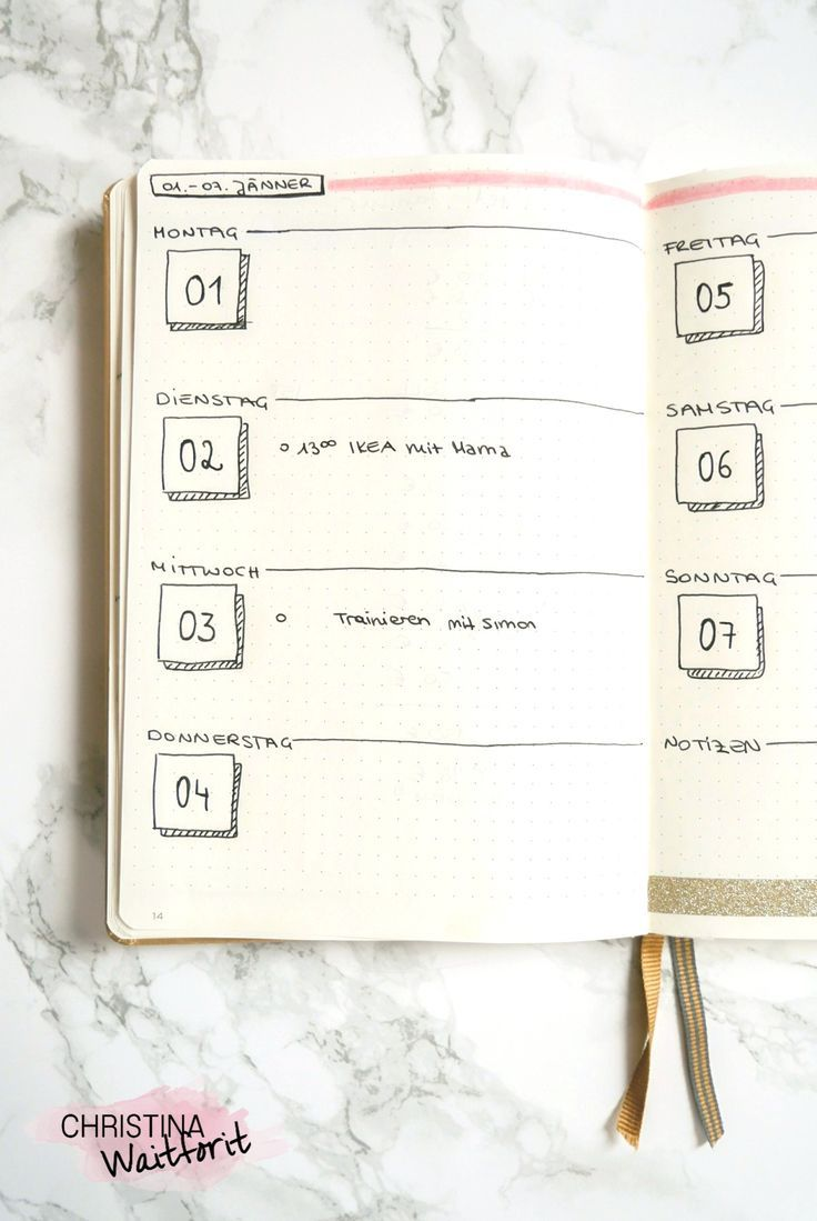 Wochenüberischt – weekly spread – weekly overview Bullet Journal January 2018