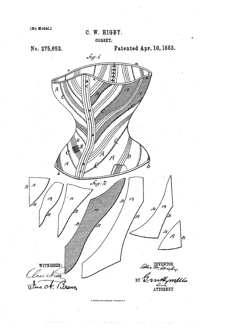 Google Patent Search; Patent number: 275652; Issue date: Apr 10, 1883; Creative corset piecing.
