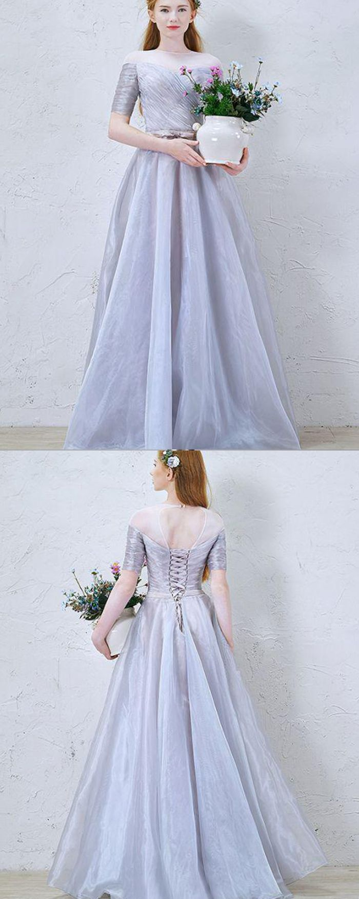 Sheer Neck Ruched Tulle Dusty Blue Formal Dress With Half Length Sleeves Pm1367 Blue Dress Formal Bridesmaid Dress Collection Formal Dresses [ 1750 x 700 Pixel ]