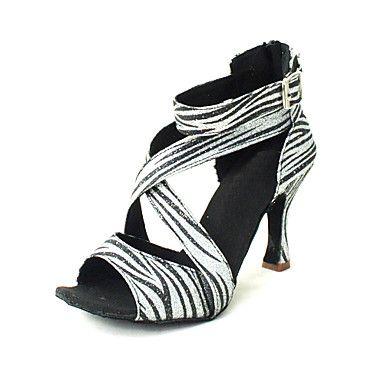 Customized Women's Sparkling Glitter Upper Latin Dance Shoes Sandals With Zipper – USD $ 39.99