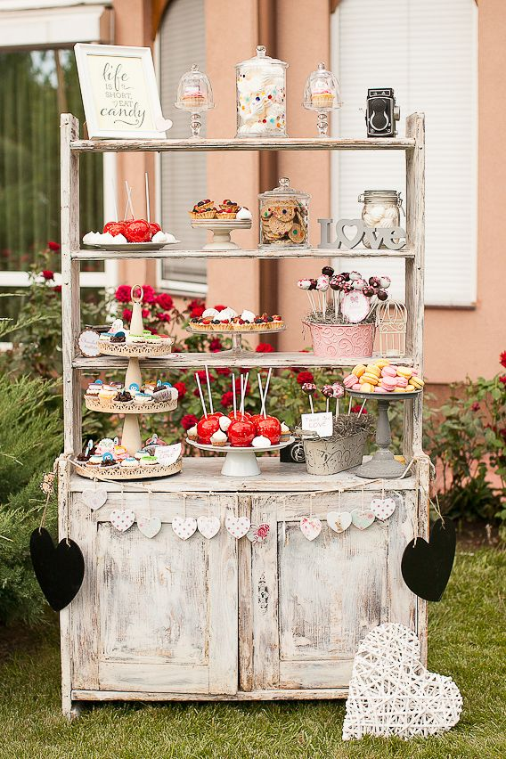 #candybar #wedding dessert table idea, if I ever get that hutch from Dani's cottage I'd offer it up for use!