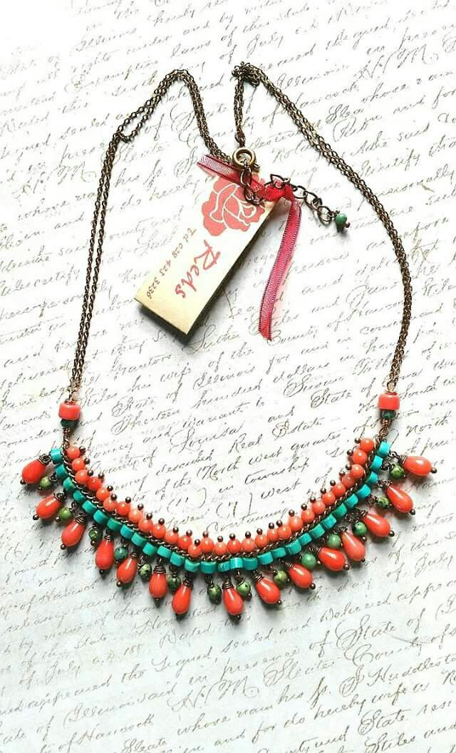 Coral and african turquoise collar necklace on copper chain