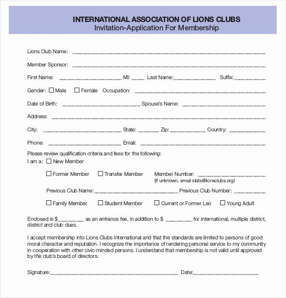 sample of membership form for an organization