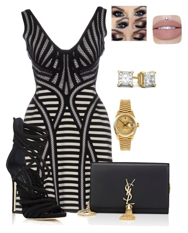 """Untitled #37"" by renelleboodoosingh on Polyvore featuring Hervé Léger, Giuseppe Zanotti, Yves Saint Laurent and Rolex"