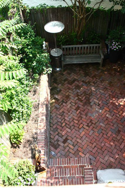 Chevron Brick patio - there's hardly any brick in SoCal, I miss it!