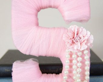 Tulle wrapped letter A  Little Girl Birthday di DuryeaPlaceDesigns   Etsy