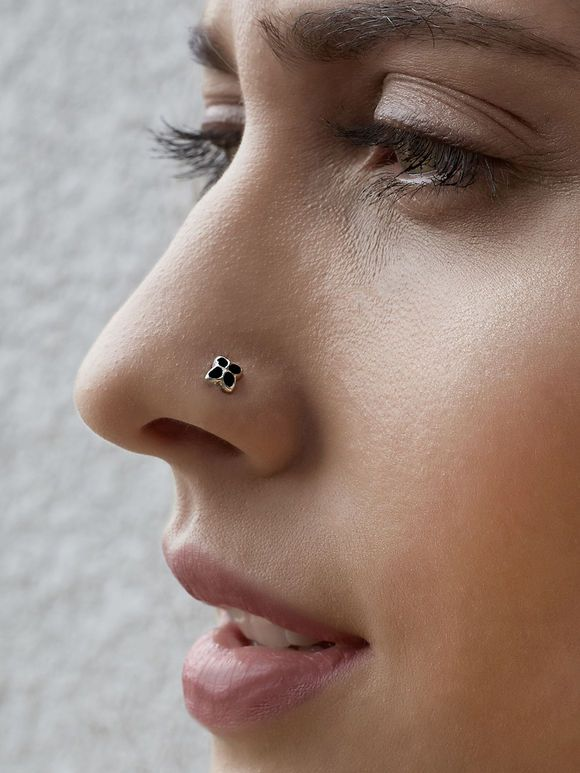 Silver Black Nose Pin Nose Ring Nose Jewelry Nose Jewels