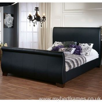 duke faux leather sleigh bed frame - Leather Bed Frame
