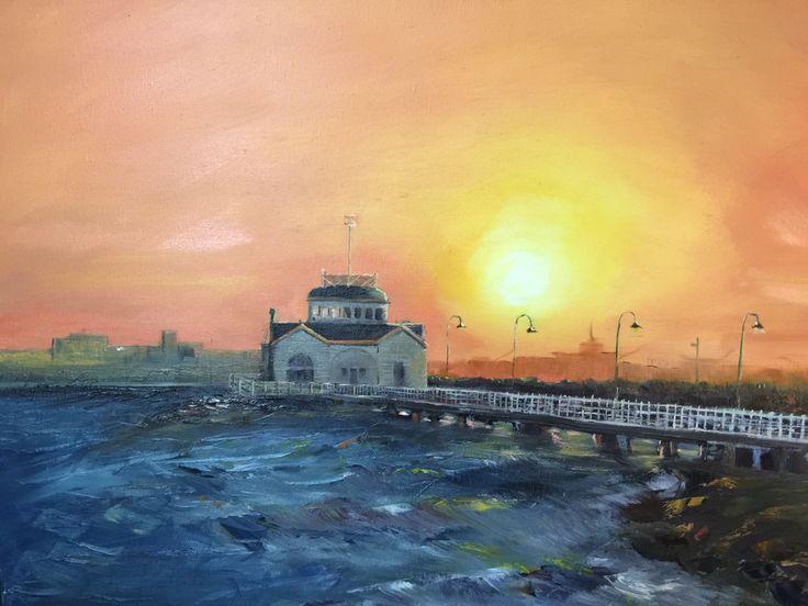 St kilda pier - oil on board  Rick Brun