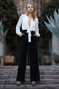 Sexy Black And White Jumpsuit - Wide-Leg Jumpsuit - $76.00