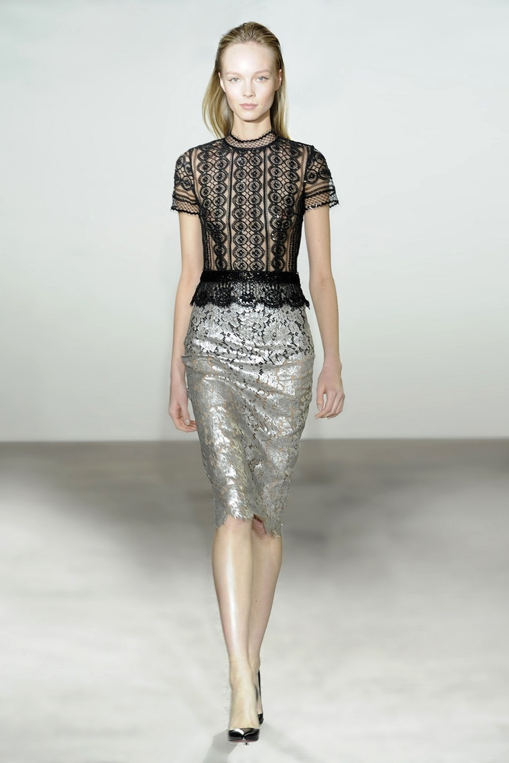 Collette Dinnigan Tattoo Tulle & Wool Short Sleeve Top and French Silver Night Lace Skirt