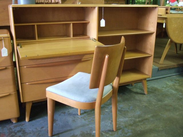 heywood wakefield dropfront desk with bookcase sold