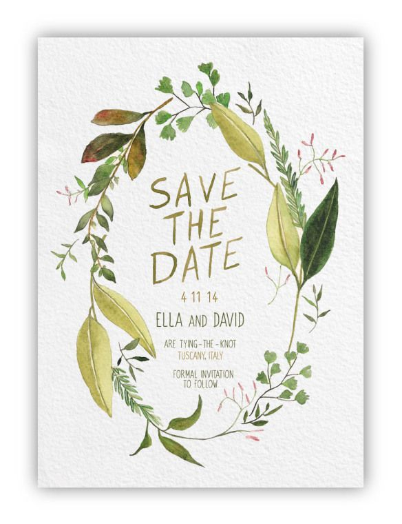 Save the date wedding watercolor paper green leaves floral wreath feminine design leaves cute girly invitation idea