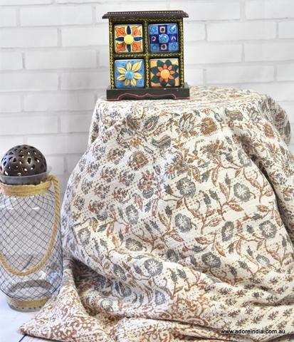 Brown Hand Block Patchwork Kantha Quilt