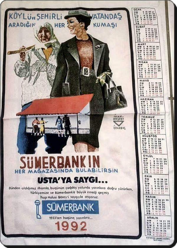 Sümerbank Takvimi, 1992 #nostalji #istanlook #birzamanlar