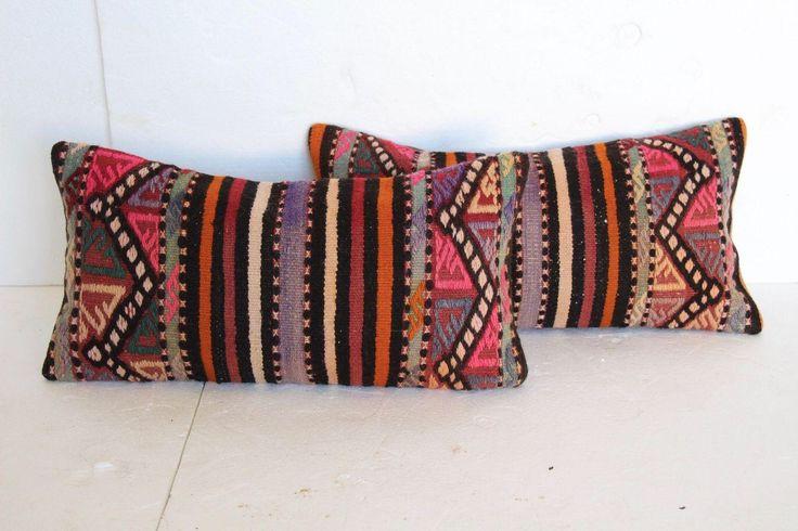 Turkish Kilim Cushions - A Pair on Chairish.com