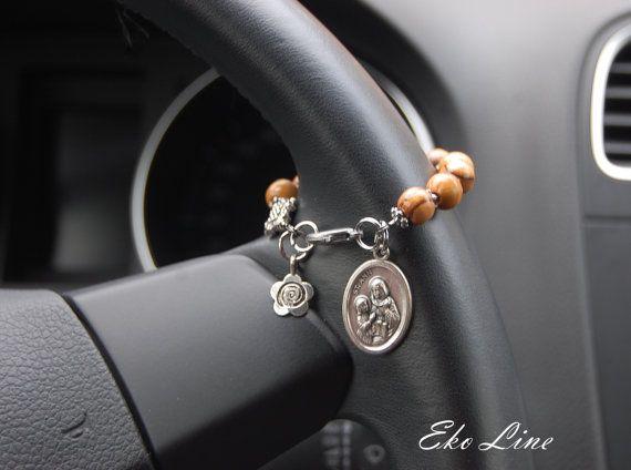 Olive Wood Rosary.  Catholic Jewelry .Catholic Prayer Beads.Jerusalem Olive Wood. Personalized Initial. Protection.