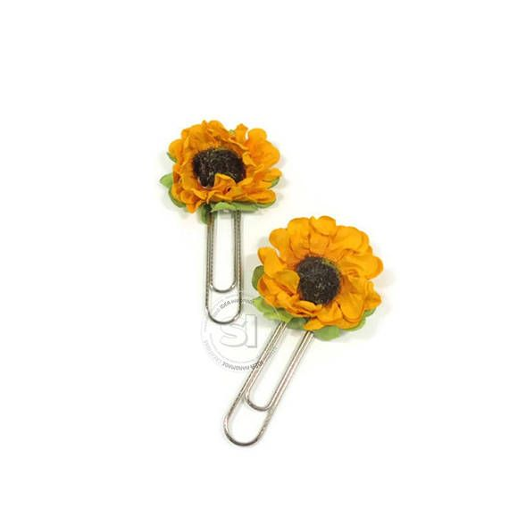 Set of 4 sun flower paper clips-Yellow Paper Flower Planner