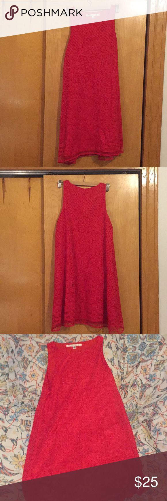 """Bright red Max Studio dress Beautiful cherry red Max Studio dress in small. Lace overlay. Only worn once for graduation pictures, hits me about mid-thigh at 5'7"""". Max Studio Dresses Mini"""