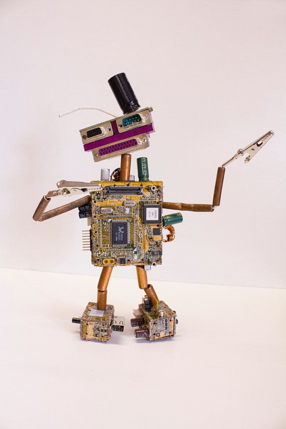 Robot Found Object Sculpture made from Computer by NancySolbrig, $48.00