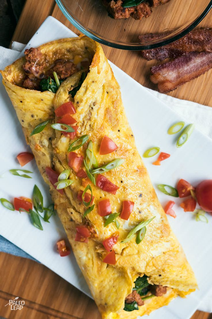 Chorizo And Spinach Omelette #paleo
