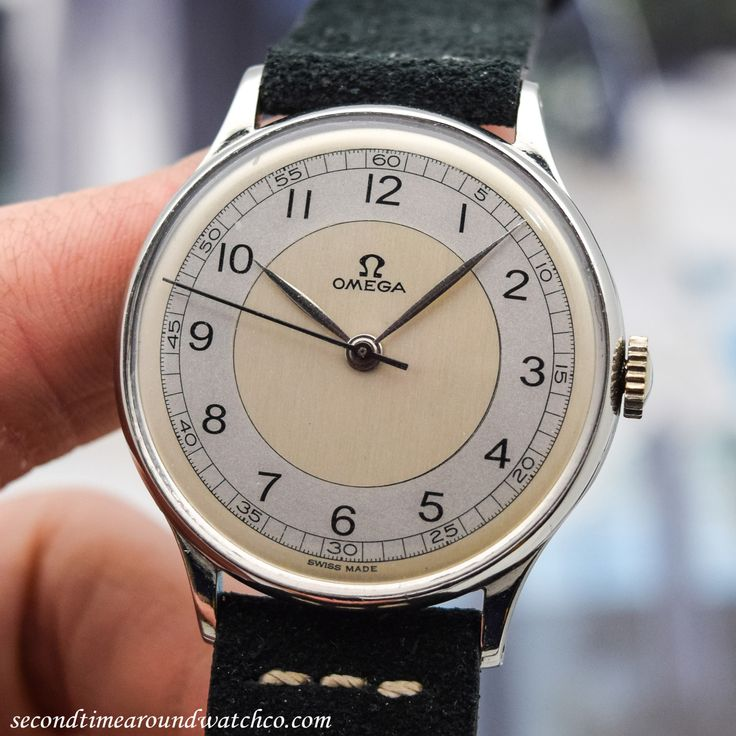 "secondtimearoundwatchco: ""Nice! Here we have a 1944 Omega Ref. 2292. This example wears well on the wrist at 35mm and features an attractive, two-tone, grey & silver dial with black-colored, Arabic numerals and a manual-wind, caliber 30 T2-SC..."