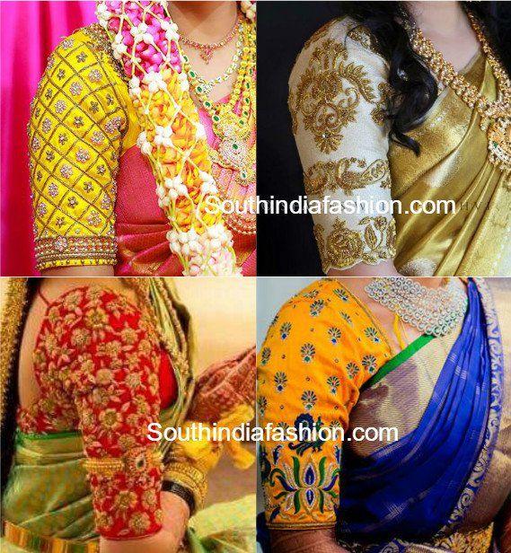 Elbow Length Sleeves maggam work Pattu Saree Blouse Designs, kanjeevaram blouse, bridal silk saree blouse designs