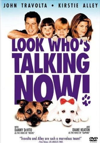 Look Who's Talking Now! (1993) Directed by Tom Ropelewski.  With John Travolta, Kirstie Alley, David Gallagher, Tabitha Lupien. In this, the third film, it's the pets who do the talking. The Ubriacco's find themselves the owners of two dogs, Rocks, a street wise cross breed, and Daphne, a spoiled pedigree poodle. James has a new job, pilot to the sexy and lonely Samantha. Mollie's just lost hers and is stuck at home.