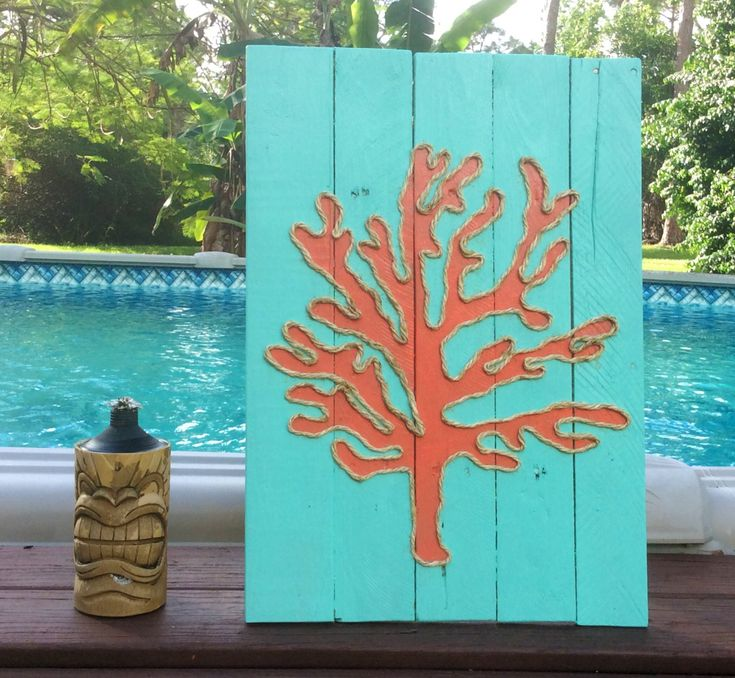 Handmade Coral with Rope Beach Pallet Art by BeachByDesignCo