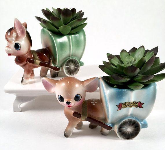 Vintage Planter 50s Lady Girl with Dog Ceramic Garden Patio Decor JAPAN Cactus Planter