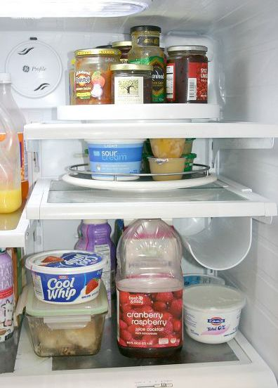 Put a lazy Susan in your fridge.