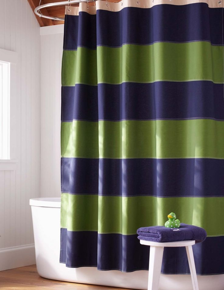 Blue Green Striped Shower Curtain   Shower Curtains Are Not Typically One  Of The Major Decisions A Homeowner Spends Time Con