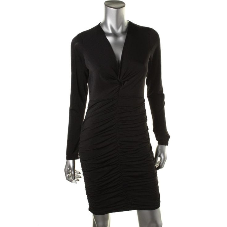 Guess Womens Long Sleeve Knot-Front Cocktail Dress