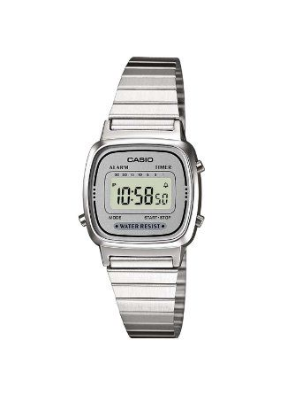 Casio Women's Quartz Watch with White Dial Digital Display and Silver Stainless Steel Bracelet LA670WEA-7EF with Countdown Timer: Casio: Ama...