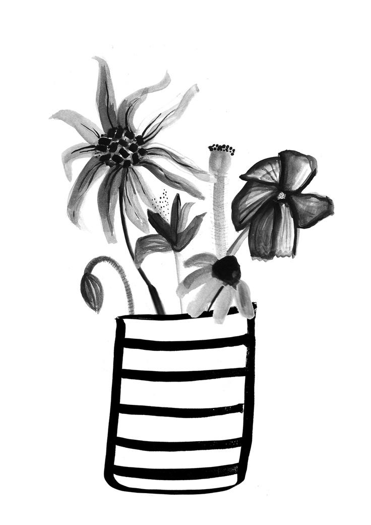 sun flower stripy vase by Erin McIntyre