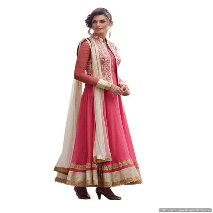Piramalls Pink Anarkali Suit With Embroidered Work