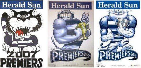 Geelong Football Club's 2007, 2009, 2011 Premiership Posters.
