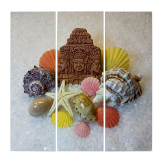 Mystic Energy Seashells and Star Triptych Wall Art by www.zazzle.com/htgraphicdesigner* #zazzle #gift #giftidea #art #seashells #triptych #summer #canvas    Seashells, conch shells and cowrie shells represent the element of earth in Feng Shui.  They are considered very auspicious by many religions. According to Feng Shui: Seashells attract the positive energy, prosperity, good health, happiness and good luck into our lives!