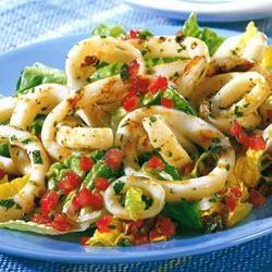 Barbecued calamari with tomato vinaigrette