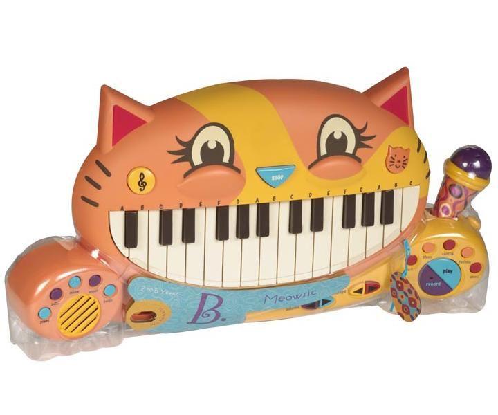 """Музыкальная игрушка """"Мини-пианино"""", Battat ~1800 Супер-пианино! Есть выбор инструментов, включая режим """"мяу"""", выбор темпа, также есть песенки и мелодии. В микрофон можно петь, он вытягивается на шнурке."""