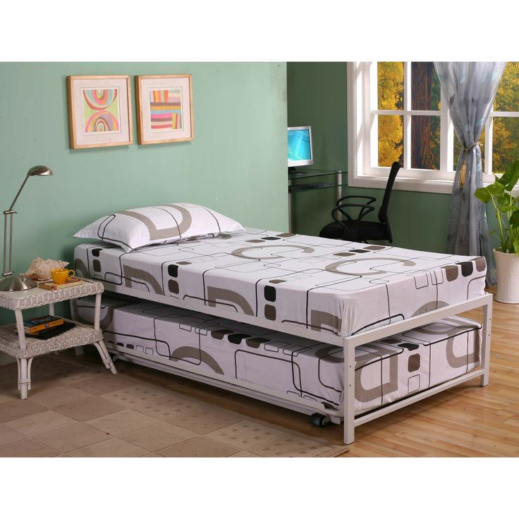 designed for longlasting durability this twin bed with pop up trundle is the