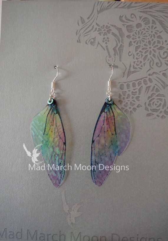 Micro Rainbow Fairy wing earrings, iridescent cicada style with sterling silver ear wires 6.5cm drop, clip on version available