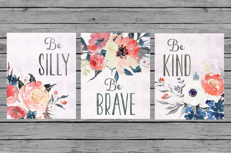 Nursery Wall Art Nursery Art Baby girl Nursery Decor coral navy gray floral Nursery Set of 3 prints Nursery bouquet watercolor girls room by MINTablePrintables on Etsy