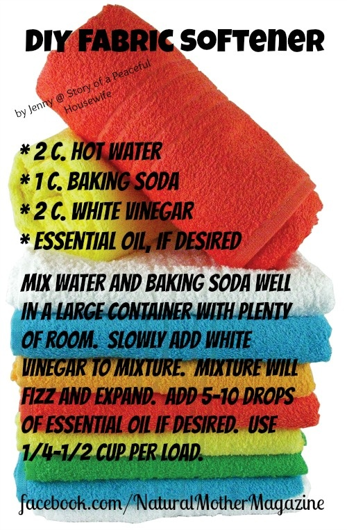 DIY Fabric Softener using ingredients you already have in your kitchen.  Save money and live healthier!