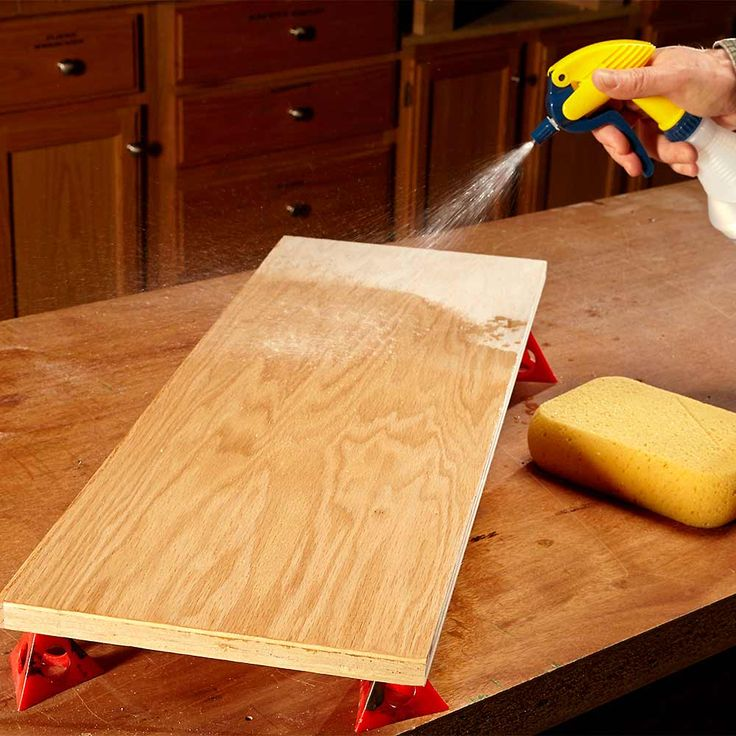 Mist Your Wood Before Staining - 13 Tips for Using Water Based Varnish: http://www.familyhandyman.com/woodworking/staining-wood/water-based-finishing-tips