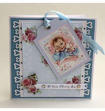 Karta pamiątka chrztu dla chłopca