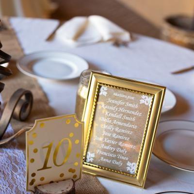 Simple & elegant gold framed placecards   David De Dios Photography   villasiena.cc