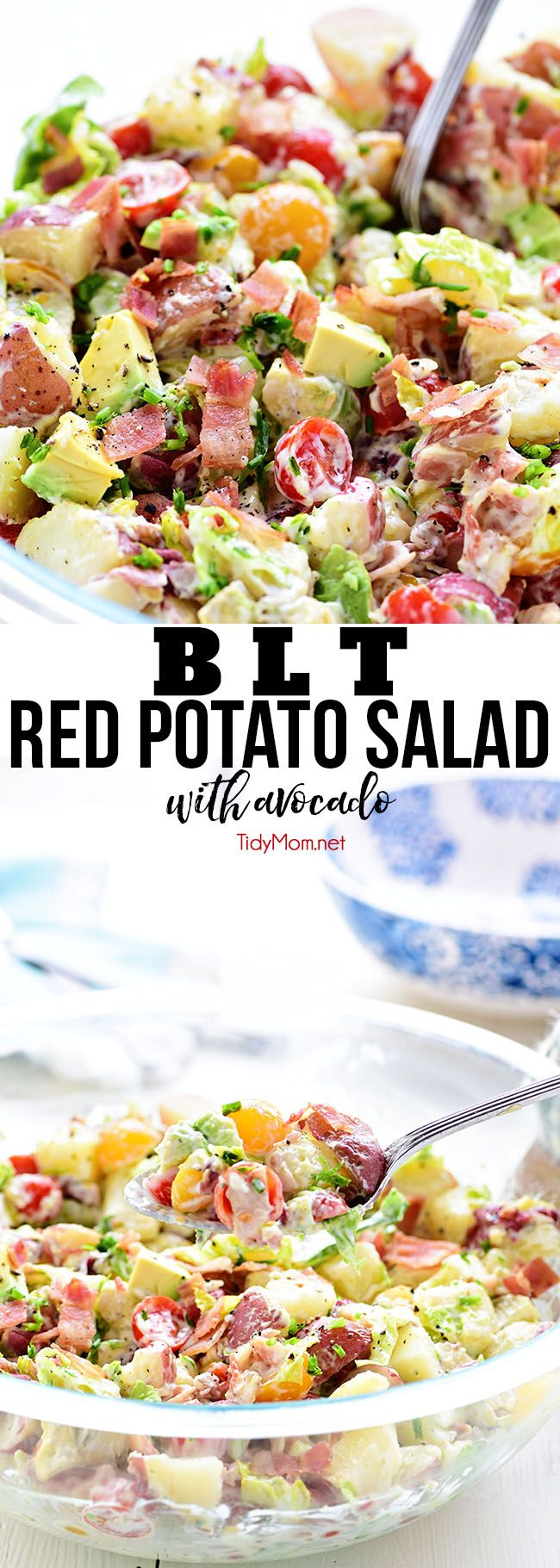 This easy BLT Red Potato Salad has an avocado ranch dressing along with bacon, lettuce and tomato! It's a simple crowd-pleasing side dish!