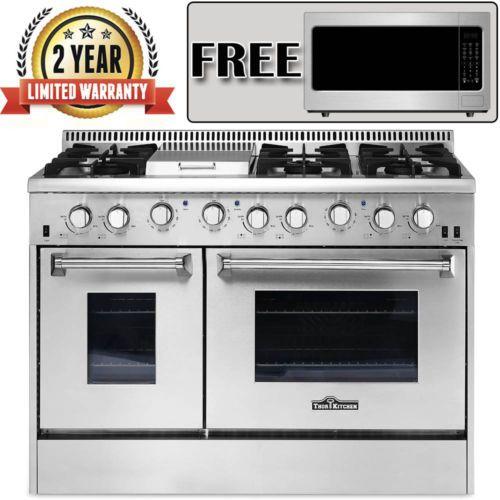 "Gas Range 48"" Thor Kitchen Double Oven Stainless Steel Griddle 6-Burner HRG4808U"