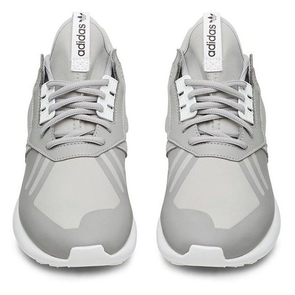 Adidas Grey and White Tubular Runner (4900 TWD) ❤ liked on Polyvore featuring shoes, sneakers, adidas, flats, gray flats, gray flat shoes, gray shoes, white flat shoes e adidas flats